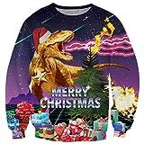 chicolife Hässlich Christmas Sweater, Unisex Frohe Weihnachten Drachen Santa Claus Print lässig Xmas Pullover Hemd mit Langen Ärmeln für Damen Herren