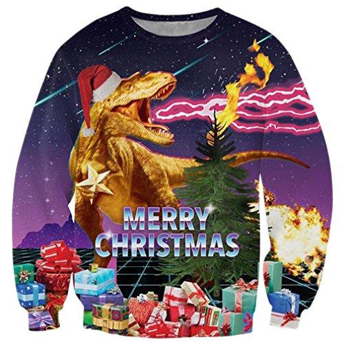 RAISEVERN Lustiger Blitz-Dinosaurier-hässlicher Weihnachtsstrickjacke-Freizeit-Reise-Pullover-Sweatshirt-Weihnachtspullover für Frauen