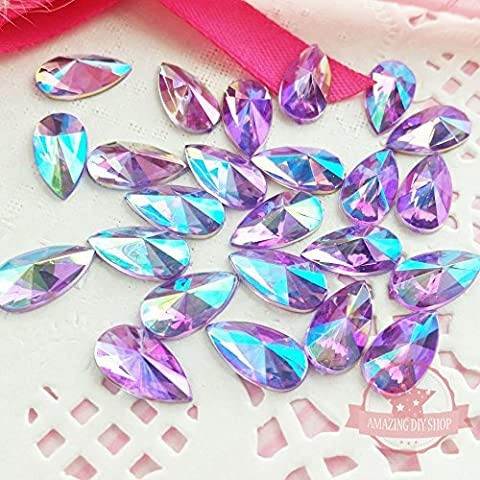 30pcs 8x13mm Teardrop Light Purple AB Acrylic Special Effect Rhinestonesship with FREE GIFT from LEYOYO (30)
