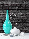 Steintapete schwarz Anthrazit , schöne edle Tapete im Steinmauer Design , moderne 3D Optik für Wohnzimmer, Schlafzimmer oder Küche inklusive Newroom Tapezier Profibroschüre, mit Tipps für perfekteWände