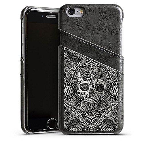 Apple iPhone 5 Housse étui coque protection Crâne en dentelle Tête de mort Motif Étui en cuir gris
