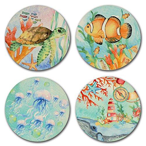Saugstarke Keramik-Untersetzer für Getränke, 4 Stück, Stein-Untersetzer-Set Korkuntersetzer für Tassen und Tassen (Ocean Style x4). von Merrir