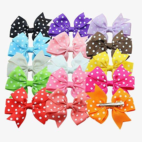 Losuya ® 15pcs Copricapo per bambini, decorazioni, piccolo fiocco Nastro a coste, ondulatori, Beak Clip, Copricapo per bambini
