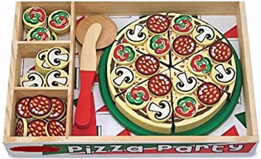 Babytintin Amazing Colorful Delicious Wooden Pizza Toy Set with 54 Toppings, Spatula and Pizza Cutter