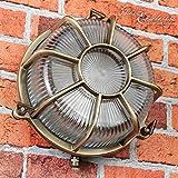 Wandleuchte Außen Antik Echt-Messing Rostfrei E27 Riffelglas Käfigschirm Rund Außenleuchte Feuchtraum Haus - 3