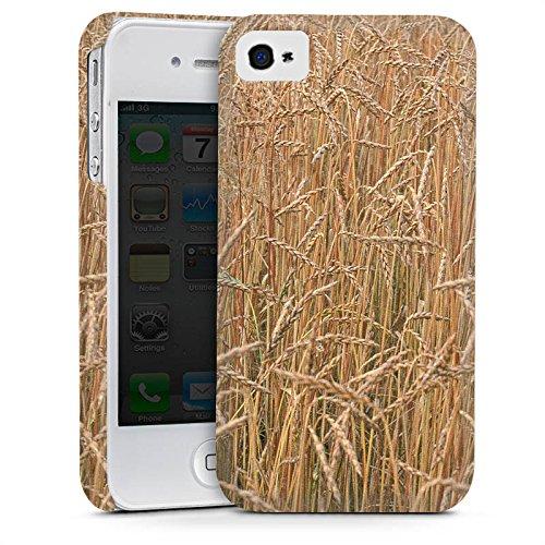 Apple iPhone 4 Housse Étui Silicone Coque Protection Champ de blé Paysage Champ Cas Premium mat