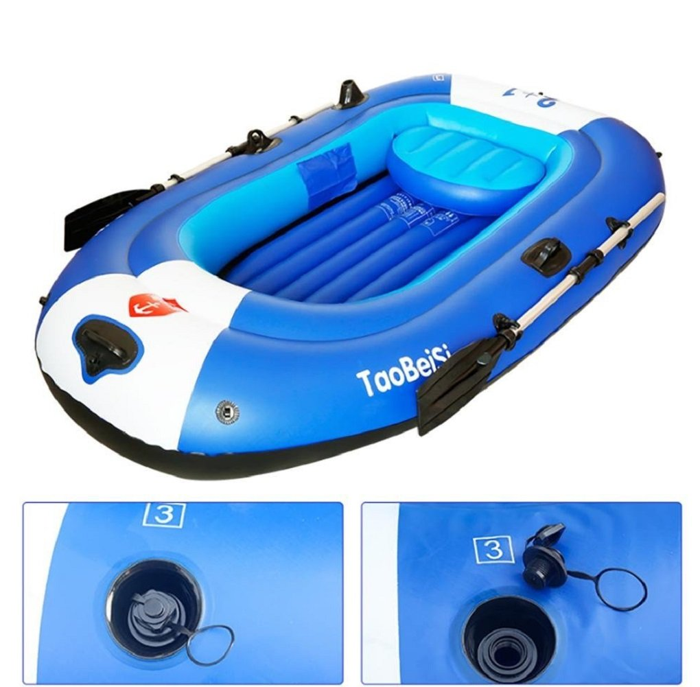 Inflatable boat kayak 4-Person Inflatable Boat Set with Aluminum Oars and High Output Air Pump