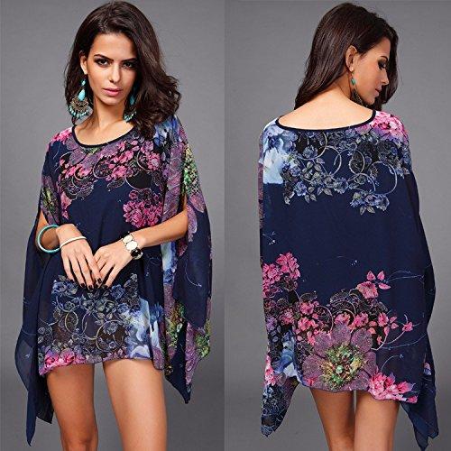 QIYUN.Z Chiffon- UnregelmäßIgen Asymmetrischen Saum Blumendruck Kimonoärmel Bluse T-Shirt Damen Blusen Tuniken T-Shirts Tops Shirt Kleider Blau und Purpur