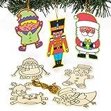 Weihnachtliches Bastelset für Holzanhänger zum Ausmalen und individuellen Gestalten für Kinder – Kreatives, weihnachtliches Bastelset (10 Stück)