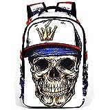 Comfysail Skull Printing 22L Unisex School Backpack - 100% Polyester Fashion Daysack Excellent