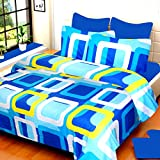#7: HOME ELITE Dynamic Cotton Double Bedsheet with 2 Pillow Covers-Blue
