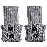 HENGSONG Damen Stricken Stulpen Socken Boot Abdeckung (Hellgrau)