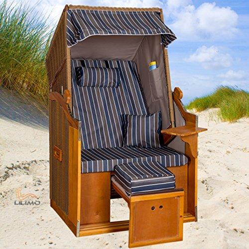 Single Strandkorb Bansin ROYAL AGB, anthrazit-grau-blau, mit Abdeckhaube, Einsitzer LILIMO ® 2