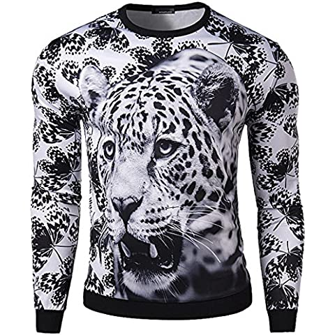 Jeansian Hombres Moda Casual 3D Snow Leopard Printing Redondo Neck Long Sleeve Sudaderas Tops T_Shirts D690