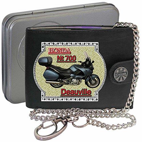 HONDA Nt700v Deauville Silber Klassek Herren Geldbörse Geldbeutel Portemonnaie mit Kette Motorrad...