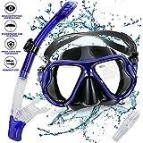 Gifort Set Snorkeling, Snorkeling Set per Immersioni e Snorkelling con Maschera Diving in Vetro Temperato, Lenti in Vetro Temperato Cibo-Grade Gel di silice