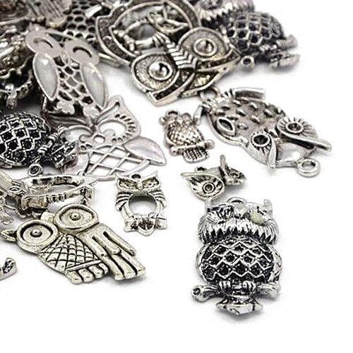 Charming beads pacco 30 grams argento antico tibetano miscelacasuale ciondoli (gufo) - (ha06695)