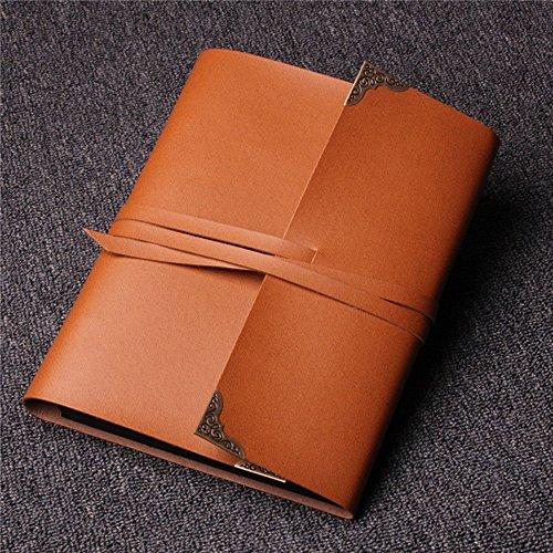 FOOHAO- Album photo bricolage rétro, Album photo Paste couverture PU, Anniversaire de voyage, 30 Pages (60 Surface) (Couleur : Yellow-Brown)