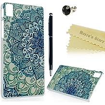 bq Aquaris E5 HD Funda Transparente de Dura Plástico PC Case - Mavis's Diary® Funda para móvil Carcasa Resistente a los Arañazos Diseño de Totem Flor + 1x Lápiz óptico + 1x Tapón Antipolvo