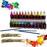 Fabric Paint 3D Permanent 24 Colors Set Marker Pens Style Premium Quality vibrant color textile paints dye for Fabric,canvas,wood,ceramic,glass by Crafts 4 ALL