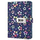 Taccuino, creativo, PU Leather Cover, con lucchetto a combinazione, da usare come diario, eccezionale articolo di cancelleria (Multicolor)
