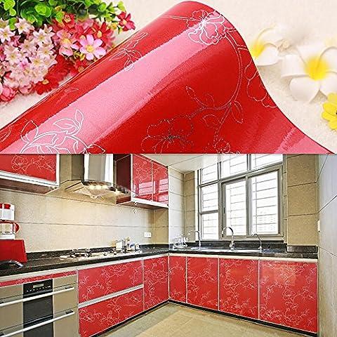 yazi autocollant papier peint Contact Papier Éléments de cuisine porte de placard rouge pivoine 61x 250cm