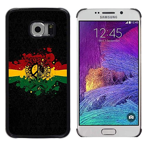 GRECELL CITY GIFT PHONE CASE /// Cellphone Custodia protettiva Caso Dura Cassa Copertura / Hard Case for Samsung Galaxy S6 EDGE /// Rasta Reggae Peace Sign Rasta Reggae Peace Sign