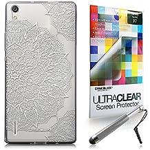 CASEiLIKE Arte de la mandala 2091 Bumper Prima Híbrido Duro Protección Case Cover Funda Cascara for Huawei Ascend P7 +Protector de Pantalla +Plumas Stylus retráctil (Color al azar)