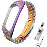Simpeak RVS Bands Compatibel met xiao mi Mi Band 5 Smartwatch Polsbanden Sport Band Accessoires Bandjes Vervanging compatible