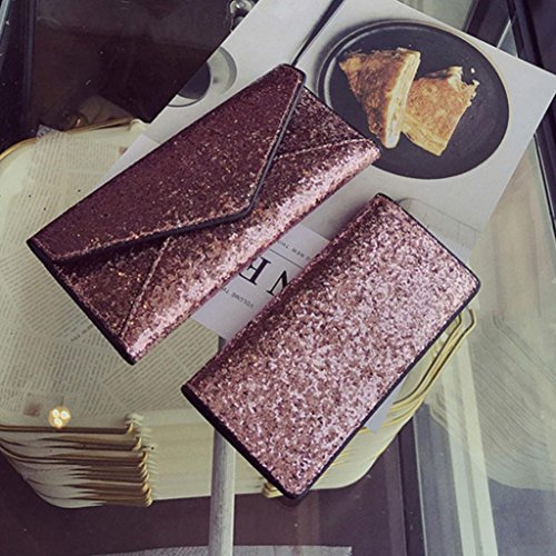 Portafoglio Donna, Tpulling Portafogli donna Portafogli Portachiavi portafogli borsa e borsa piccola (Gray) Pink
