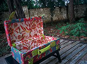 Beithak Bohemia Vintage Storage Wood Trunk in Kantha Fabric Dussera and Diwali Gifting (Size Small)