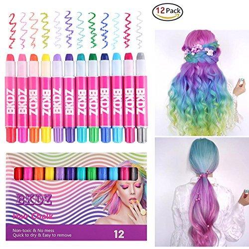 Haarkreide,12 Farben Metallic Glitter & Farbe Temporäre Stifte Ungiftiges Haar Chalk Pen Set Leicht auswaschbar ohne jegliches Durcheinander für alle Haare (Spray Haarfarbe Temporäre)