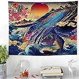 Nunbee Tapisserie Wandbehang Style Japonais Impression Mandala Tenture Hippie Etoile Elephant murales Indienne 3D Wall Tapestry Chambre d'étudiant Décoration, Baleine 200 * 150cm