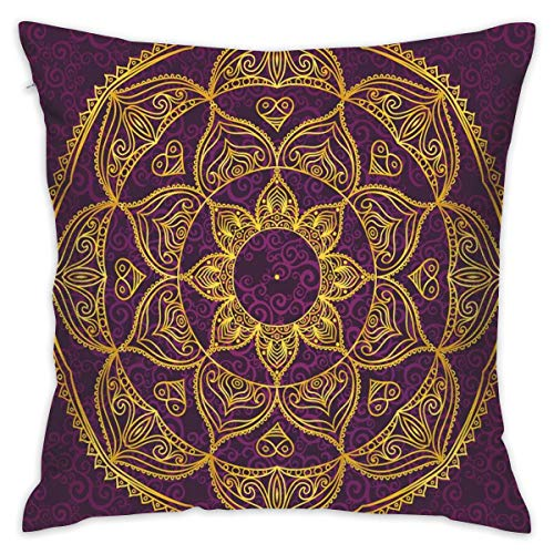 OPoplizg Mandala Throw Pillow Cushion Cover, Circular Mandala Design Eastern Old Fashioned Nature Inspired Traditional,Decorative Square Accent Pillow Case,18 X 18 Inches,Purple Earth Yellow_2
