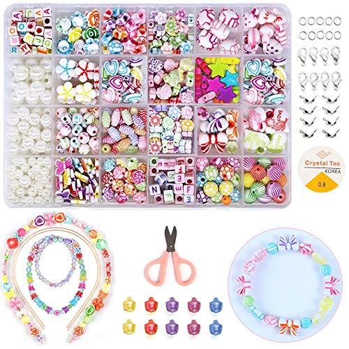 JUZNOY Perlen zum auffädeln, DIY Armbänder Selber Machen Kinder, Geburtstagsgeschenk für Mädchen(3 Gitter Perlen, 2 Gitter Buchstabenperlen)