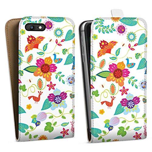 Apple iPhone X Silikon Hülle Case Schutzhülle Bunt Blumen Muster Downflip Tasche weiß