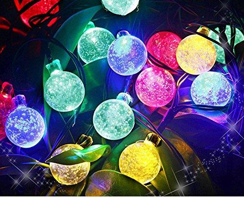 Uping® Solar Lichterkette 30er led Kristall Kugeln für Party, Garten, Weihnachten, Halloween, Hochzeit, Beleuchtung Deko in Innen und Außenbereich usw. Wasserdicht 6,5M mehrfarbig