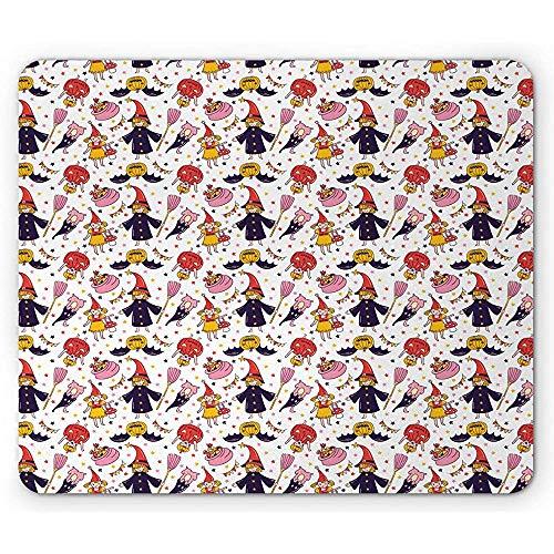 Tappetino per mouse di halloween,motivo continuo di stelle colorate per bambini candy e zucche artistiche,tappetino per mouse in gomma antiscivolo rettangolare,bianco e
