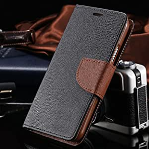 Luxury Mercury Magnetic Lock Diary Wallet Style Flip Cover Case With Premium Tempered Glass For Redmi Note (Black & Brown)