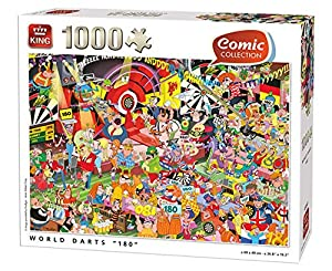 King 5547 Comic Puzzle World Darts - Puzzle (1000 Piezas, 68 x 49 cm)