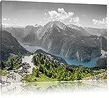 Blick vom Berg über dem Königssee in Bayern B&W Detail, Format: 120x80 auf Leinwand, XXL riesige Bilder fertig gerahmt mit Keilrahmen, Kunstdruck auf Wandbild mit Rahmen, günstiger als Gemälde oder Ölbild, kein Poster oder Plakat