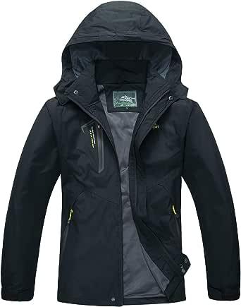 TACVASEN Men's Water-Resistant Lightweight Outdoor Hiking Jacket Windproof Mountain Coat with Hood