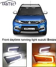 Fabtec LED Light for Maruti Vitara Brezza Front Daytime Running Light with Yellow Turn Signal C Type