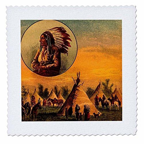 3drose Szenen aus der Vergangenheit Magic Lantern Slide-Vintage Illustration Of Native American aus einer Magic Lantern Slide.-Quilt Squares -