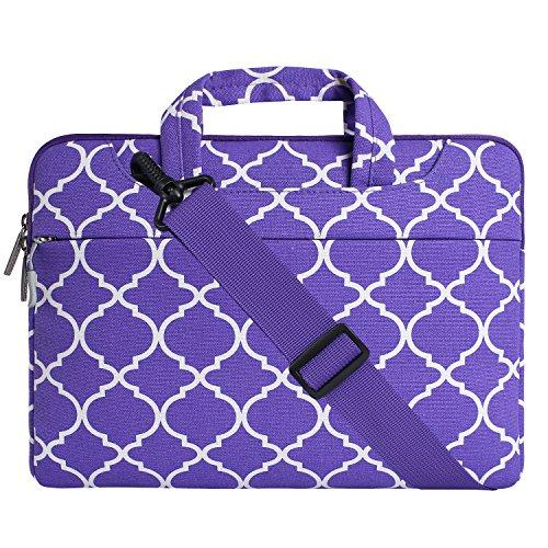 MOSISO Notebooktasche für 13-13,3 Zoll MacBook Pro, MacBook Air, Notebook Computer Quatrefoil Stil Laptop Schultertasche Sleeve Hülle Umhängetasche mit Griff und Schulterriemen als Messenger Bag, Ultra Violet