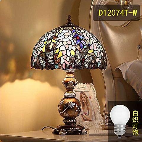Salón de verano Continental estudio cama dormitorio Retro púrpura de atenuación de luces con lámparas de cristal de caña ,D12074T-W elegante con una bombilla estándar , el interruptor de botón