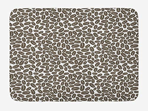 ASKYE Coffee Bath Mat, Main Ingredient of a Robust Morning Dark Grains for Aromatic Strong Taste, Plush Bathroom Decor Mat with Non Slip Backing, 23.6 W X 15.7 W Inches, Dark Taupe White -