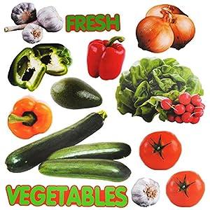 alles-meine.de GmbH 13 TLG. Set _ XL Fensterbilder – Gemüse & Früchte – incl. Name – Sticker Fenstersticker Aufkleber…