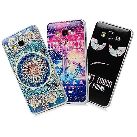 Mavis's Diary Coque Samsung Galaxy Grand Prime G530 TPU Silicone Souple Antichoc Housse de Protection Étui Téléphone Portable Phone Case Cover+Chiffon Ancres Don't Touch My Phone Totem