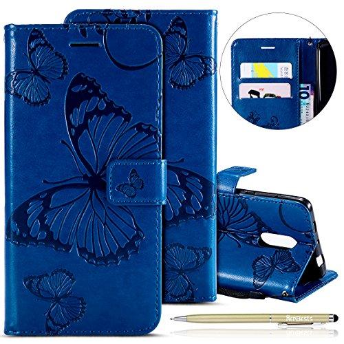 Herbests Leder Handy Schutzhülle für Xiaomi Redmi Note 4 Lederhülle Schmetterling Muster Leder Handyhülle Handytasche Brieftasche Ledertasche Bookstyle Flip Case Cover Klapphülle,Blau